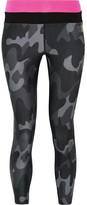 Monreal London Cropped Camouflage-print Stretch Leggings - Black