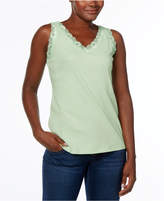 Karen Scott Lace-Trim Tank Top, Created for Macy's