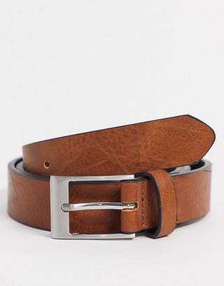 ASOS DESIGN slim belt in burnished tan faux leather
