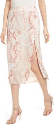 Cupcakes And Cashmere Fairfax Snakeskin Print Satin Midi Skirt