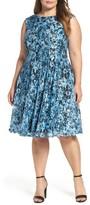 Gabby Skye Plus Size Women's Print Lace Fit & Flare Dress