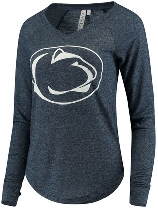 Women's chicka-d Navy Penn State Nittany Lions Favorite Heathered V-Neck Long Sleeve T-Shirt