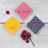 Adventures and Tea Parties Handmade Personalised Handkerchief : Polka Dot