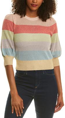 Monique Lhuillier Ml Metallic Crop Sweater
