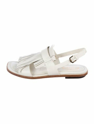 Tod's Leather Fringe Trim Accent Slingback Sandals White