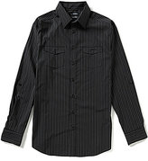 Murano Wardrobe Essentials Big & Tall Rolled-Tab-Sleeve Striped Sportshirt