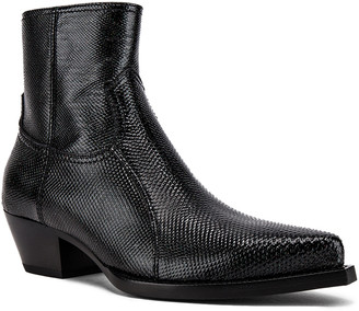 Saint Laurent Lukas Zipped Lizard Boot in Black | FWRD