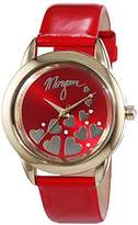 Morgan of you-M1164R Women's Quartz Analogue Watch-Red Leather Strap Red Dial