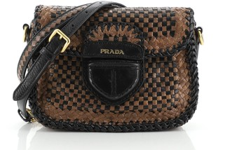 Prada Push Lock Flap Shoulder Bag Madras Woven Leather Small