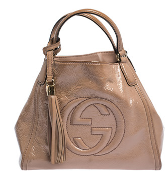 Gucci Nude Beige Patent Leather Small Soho Tote