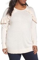 Sejour Plus Size Women's Ruffle Sleeve Sweater