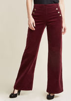 ModCloth Corduroy Wide-Leg Trousers with Buttons in S