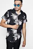 boohoo Mens Short Sleeve Tropical Print Revere Collar Shirt