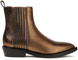 Brunello Cucinelli Bead-embellished Metallic Textured-leather Ankle Boots