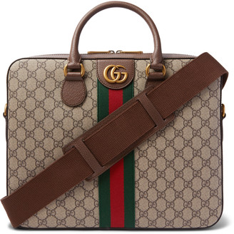 Gucci Ophidia Leather-Trimmed Monogrammed Coated-Canvas Briefcase - Men - Brown