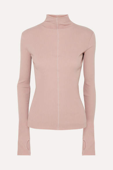 Helmut Lang Ribbed Cotton Turtleneck Sweater - Pink