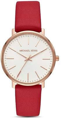Michael Kors Pyper Red Leather Strap Watch, 38mm