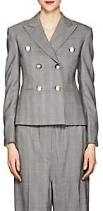 Calvin Klein Women's Glen Plaid Wool Crop Blazer-Black White Grenadine
