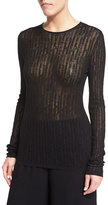 The Row Catalina Long-Sleeve Mesh Sweater, Black