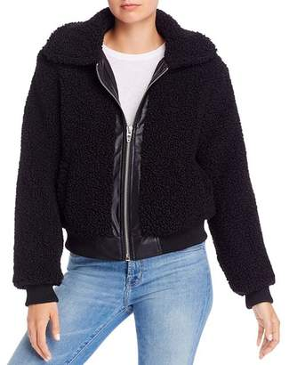 Blank NYC BLANKNYC Faux Leather-Trimmed Sherpa Jacket