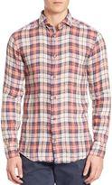 Eleventy Plaid Linen Sportshirt