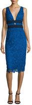 Diane von Furstenberg Viera Lace Sleeveless V-Neck Sheath Dress, Neptune Blue/Black