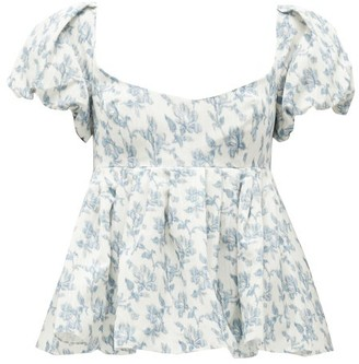 Brock Collection Floral-print Puff-sleeve Peplum Top - White Multi
