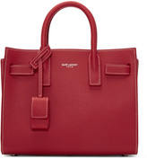 Saint Laurent Red Nano Sac de Jour Tote