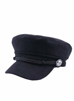 CORAFRITZ Women's Yacht Captain Sailor Hat Newsboy Cabbie Baker Boy Peaked Beret Cap with Buttons Black