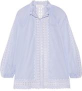 Zimmermann Caravan Crochet-trimmed Striped Cotton-voile Blouse - Sky blue