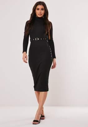 Missguided Petite Rib Roll Neck Belted Midi Dress