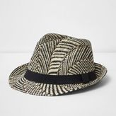 River Island Mens Beige straw trilby hat