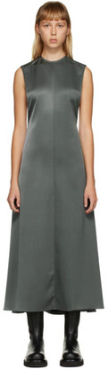 Peter Do SSENSE Exclusive Grey Half Twill Half Satin Open Back Dress