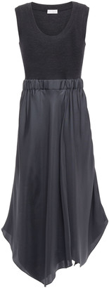 Brunello Cucinelli Paneled Silk-twill And Wool-blend Jersey Midi Dress