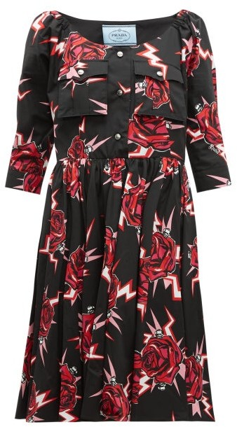 Prada Frankenstein-print Cotton Knee-length Dress - Black Multi