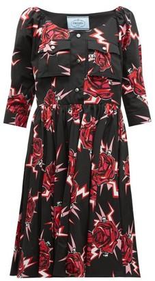Prada Frankenstein-print Cotton Knee-length Dress - Black Multi