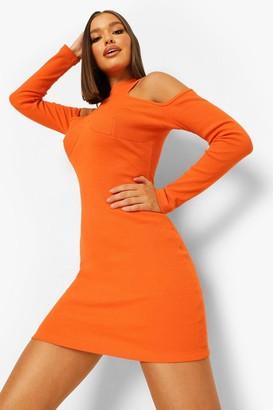 boohoo Rib Stitch Detail Cold Shoulder Dress