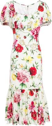 Dolce & Gabbana Gathered Floral-print Silk-blend Dress