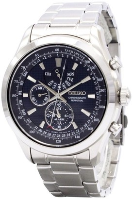Seiko Men's SPC125 'Neo Classic' GMT, Chronograph, Leap Year Indicator, Perpetual, Time Zone Stainless Steel Watch