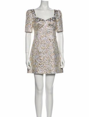 Dolce & Gabbana Floral Print Mini Dress Metallic