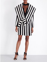 Balmain Striped wool and cotton-blend coat