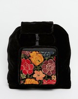 Hiptipico Handmade Velvet Backpack With Floral Embroidery