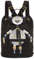 Prada Nylon Robot Backpack, Black/Multi (Nero/Cromo)