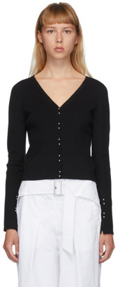 3.1 Phillip Lim Black Wool Buttoned V-Neck Cardigan