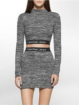 Calvin Klein Womens Logo Band Long Sleeve Cropped Top