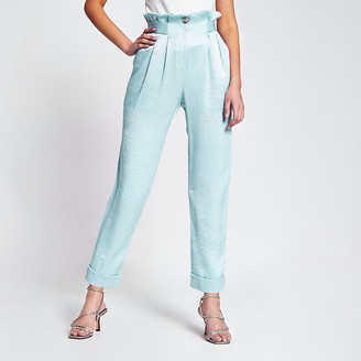 River Island Light blue tab waist peg leg trousers