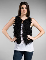 Loose Fuzzy Cashmere Sleeveless Vest in Black