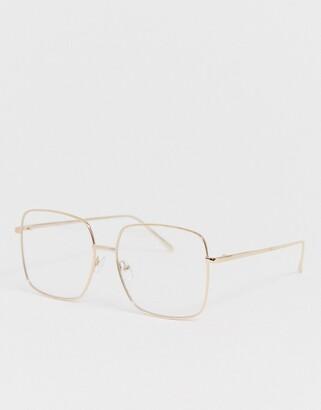 clear Asos Design ASOS DESIGN metal square lens glasses in gold