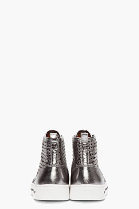Marc by Marc Jacobs Metallic Silver Starstruck Perforated Zip Sneakers