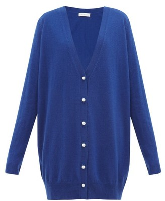 Roche Ryan Faux-pearl Buttoned Oversized Cashmere Cardigan - Womens - Blue